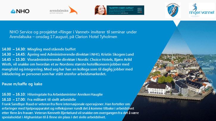 Ringer i vannet inviterer til seminar i Arendal 17. august 2016