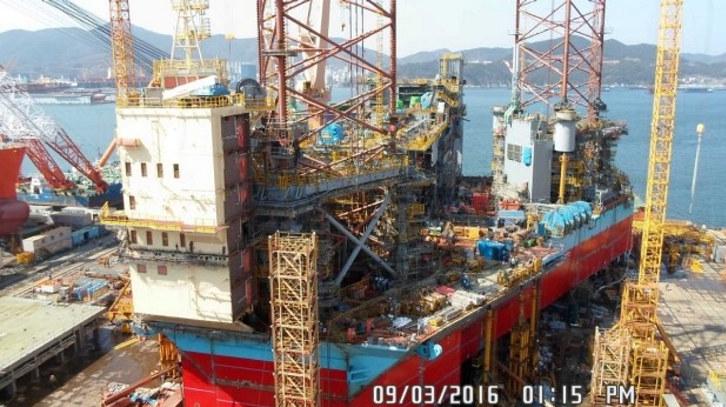 Maersk XLE-4 riggen under bygging i Sør Korea