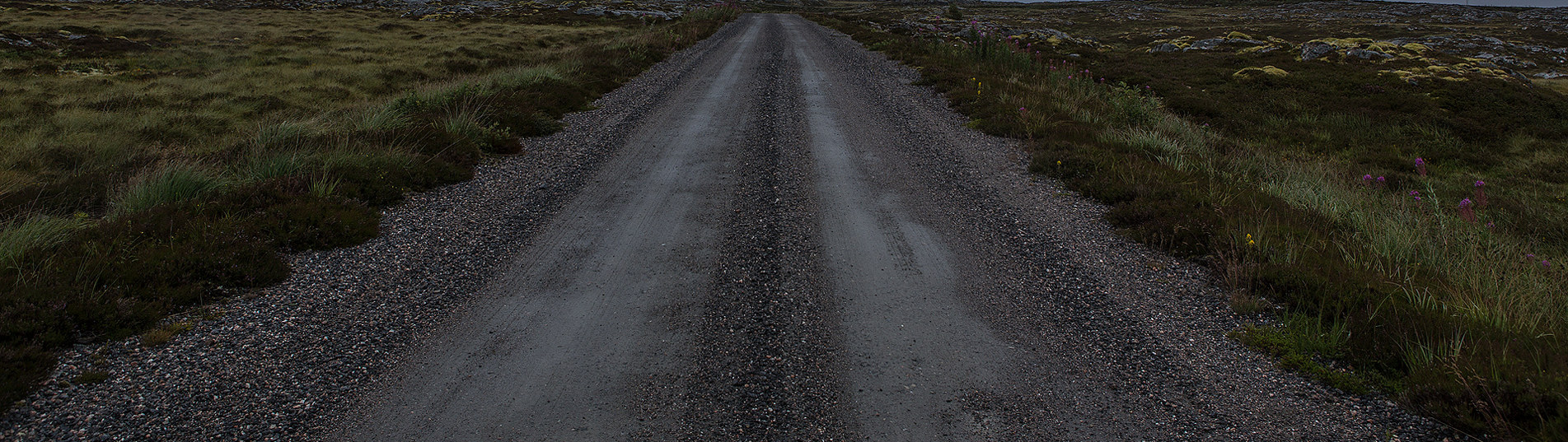 Nærbilde av en øde landevei i mørket. Foto.