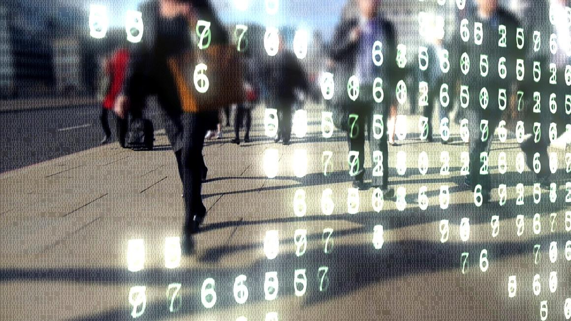 Illustrasjon med tall og mennesker