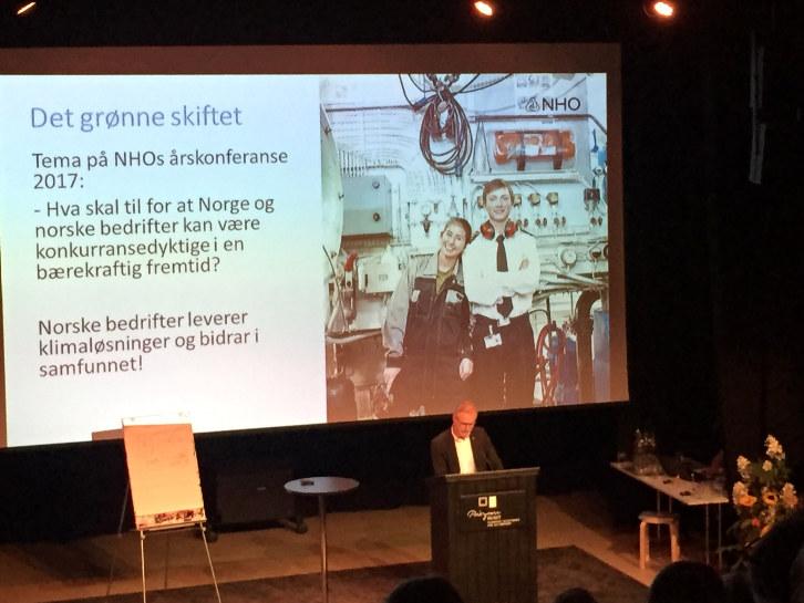 """Åge Skinstad holdt innlegg på konferanse om """"det grønne skiftet"""" 12. september 2016 på Prøysenhuset."""
