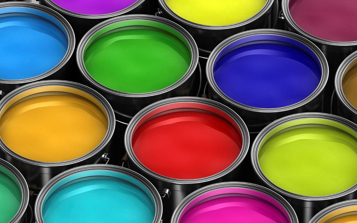 Malingsspann i forskjellige farger. Foto.