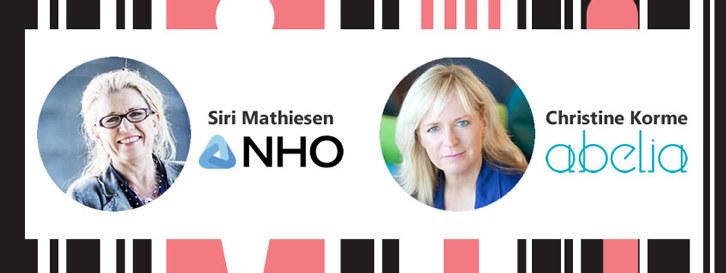 NHO Agders Siri Mathiesen og Abelias Christine Korme gir sine perspektiver på omstilling, likestilling og delingsøkonomi 14. mars.