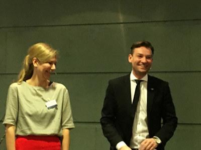 Marianne Marthinsen (Ap) og Henrik Asheim (H) ledet årskonferansen i NHO Oslo og Akershus