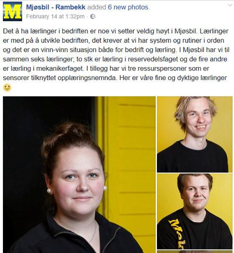 Anna, Vegard og Christoffer er noen av Mjøsbils lærlinger: Fotograf: Hanne-Kjersti Skjevelnes Iversen