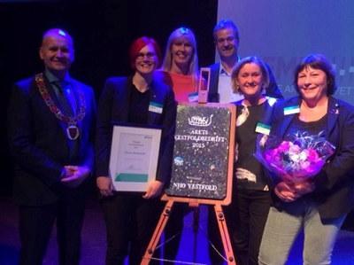 Vi gratulerer lærebedriften Nortura og deres 620 ansatte! Abax AS i Larvik og Carlsen Fritzøe Handel AS i Sandefjord sto også på pallen på årets næringskonferanse torsdag 3. mars 2016.