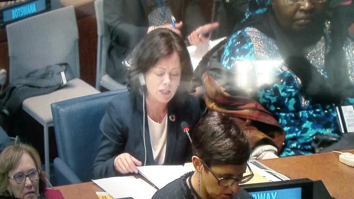 """NHO-prosjektet """"Jenter og teknologi"""" var tema da statsråd Solveig Horne holdt innlegg i forbindelse med FNs kvinnekommisjon."""