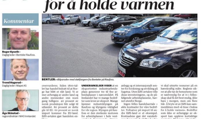 Utsnitt fra kronikken i Oppland Arbeiderblad, 20. april 2017. Bilde av bilpark med Bentelers støtfangere