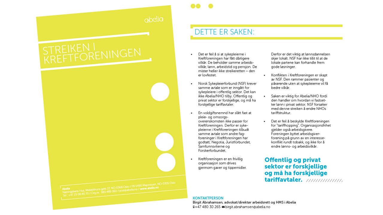 Brosjyre om streiken i Kreftforeningen.