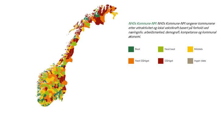 Det er en klar sammenheng mellom størrelse og plassering på listen i årets Kommune-NM. Det viser resultatet fra NHOs KommuneNM 2017.