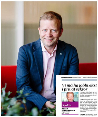 La oss heie på våre jobbskapere og sørge for at Østfold er en god næringsvert. Arbeidet må starte allerede nå med regjeringserklæringen, skriver regiondirektør Roald Gulbrandsen i dagens utgave av Fredrikstad Blad.