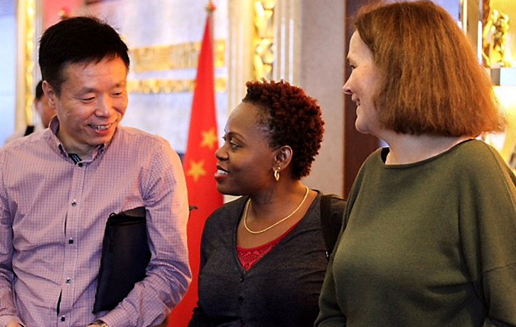 Visit to Guangzhou - Dr. Niu Zhiqiang, CEC, Ms. Joyce Nangai, ATE and Ms. Tori Tveit, NHO. Foto: Markus Tveit Karkash