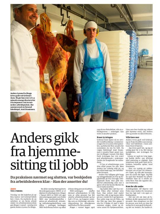 En avisside fra avisa Innherred med bilde av Anders som har fått jobb hos Grilstad