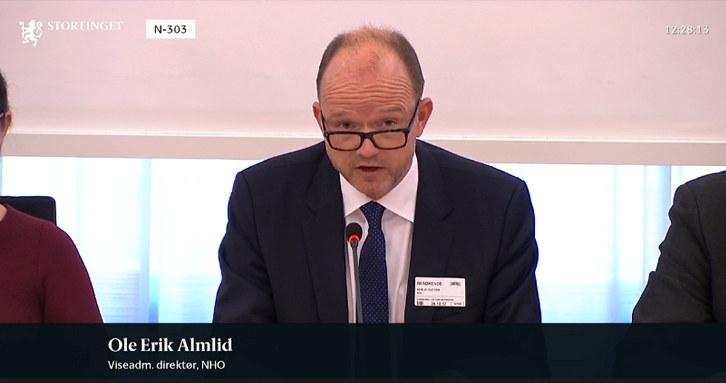 Viseadm. direktør i NHO, Ole Erik Almlid, har deltatt i flere høringer på Stortinget.