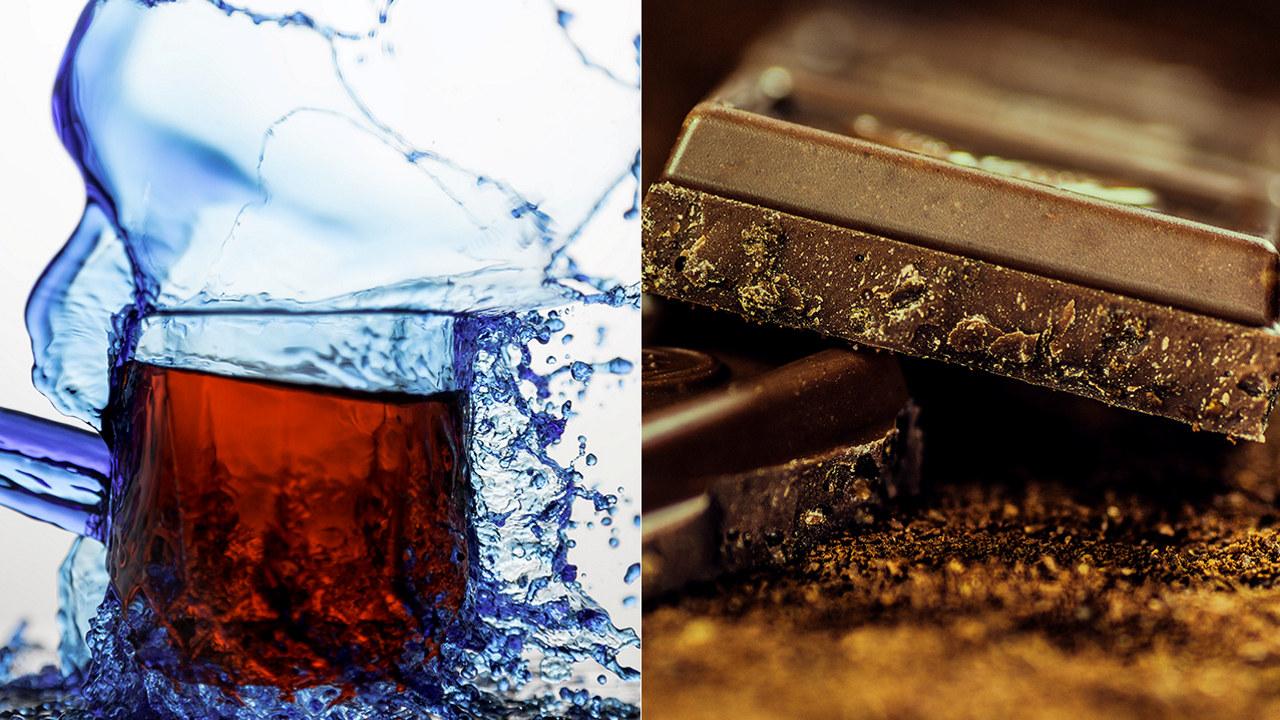 Et bilde satt sammen av to. Brus og sjokolade.