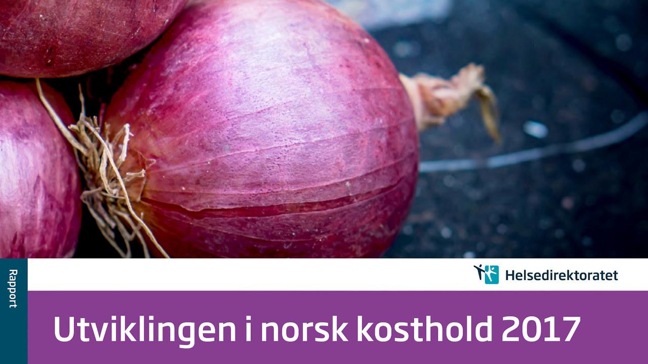 Forsiden til rapporten Utvikling i norsk kosthold 2017 - bilde av rødløk