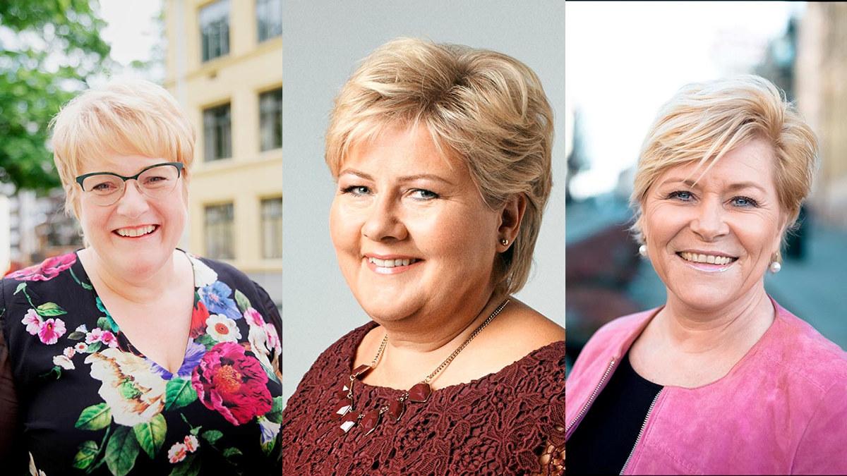 Portrettfoto av Trine Skei Grande, Erna Solberg og Siv Jensen