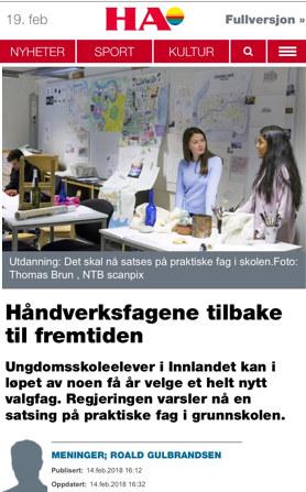 Ungdomsskoleelever i Innlandet kan i løpet av noen få år velge et helt nytt valgfag. Regjeringen varsler nå en satsing på praktiske fag i grunnskolen.