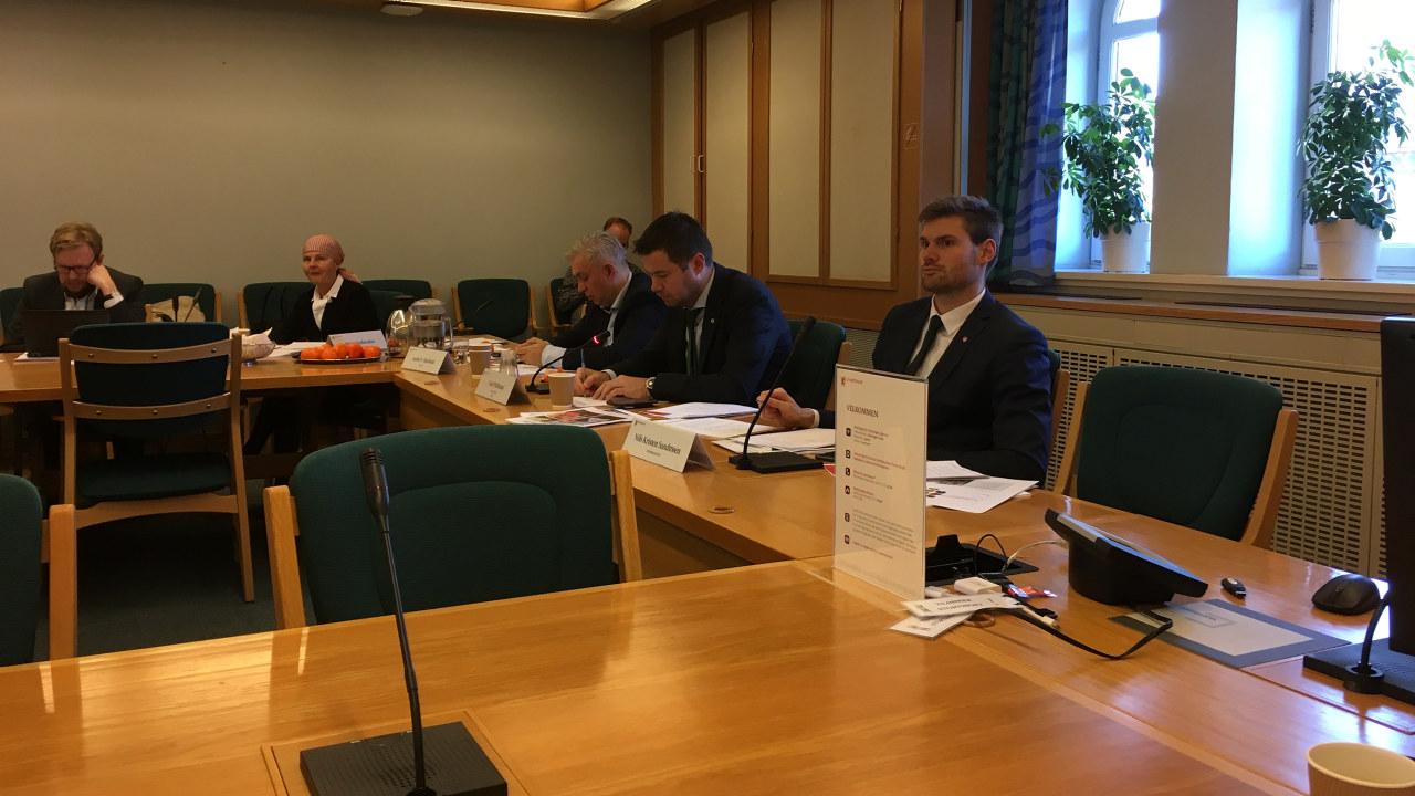 Bilde av møterommet med deler av Næringskomiteen samlet