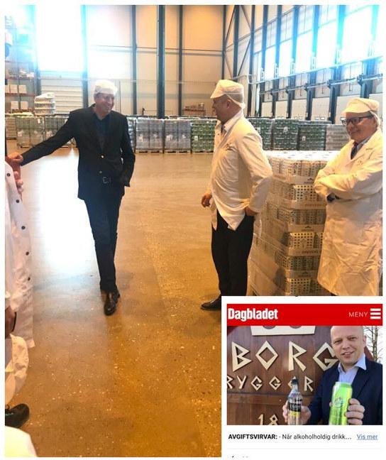 Sukkeravgiftens merkelige utslag og norske råvarer var tema når NHO Østfold, Senterparti-leder Trygve Slagsvold Vedum og Hansa Borg Bryggerier møttes i Sarpsborg.