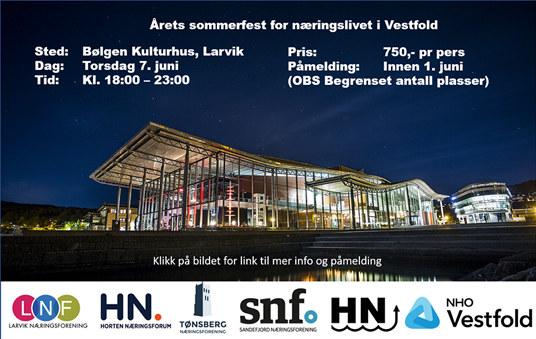 I år er det Larvik som inviterer næringslivet i Vestfold på sommerfest. Bli med oss og ta Bølgen for bedriftene våre du også!