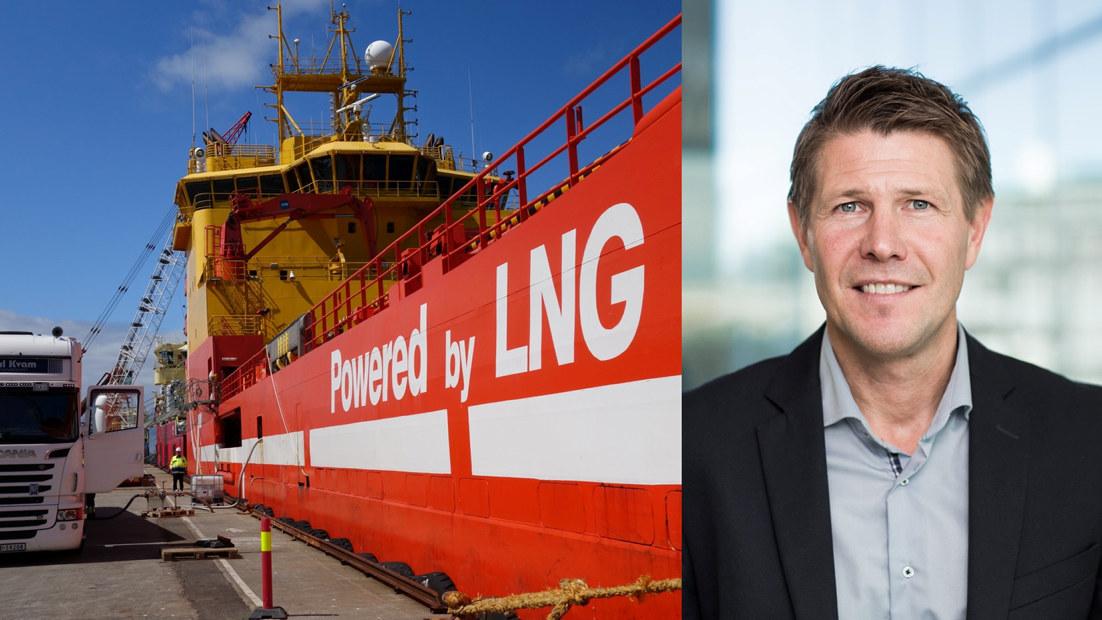 LNG-skip til kai og portrettbilde av Tommy Johnsen.