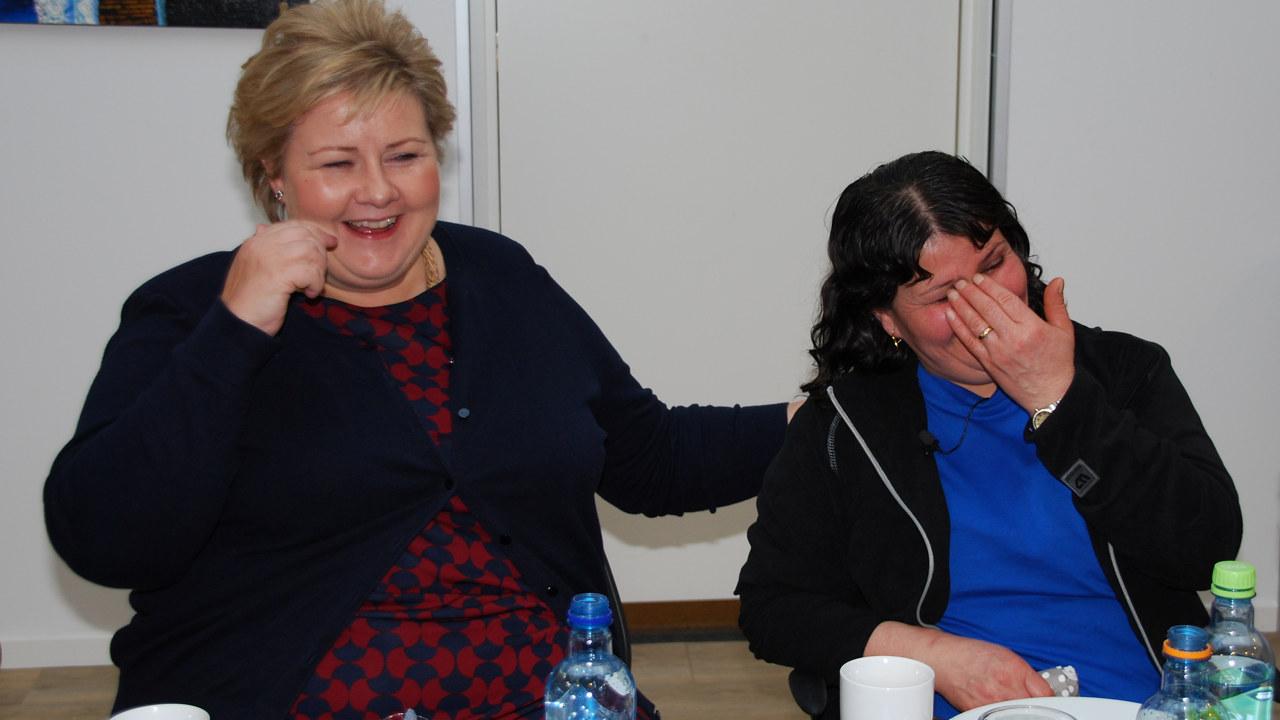 Statsminister Erna Solberg og Suaada Kiyan