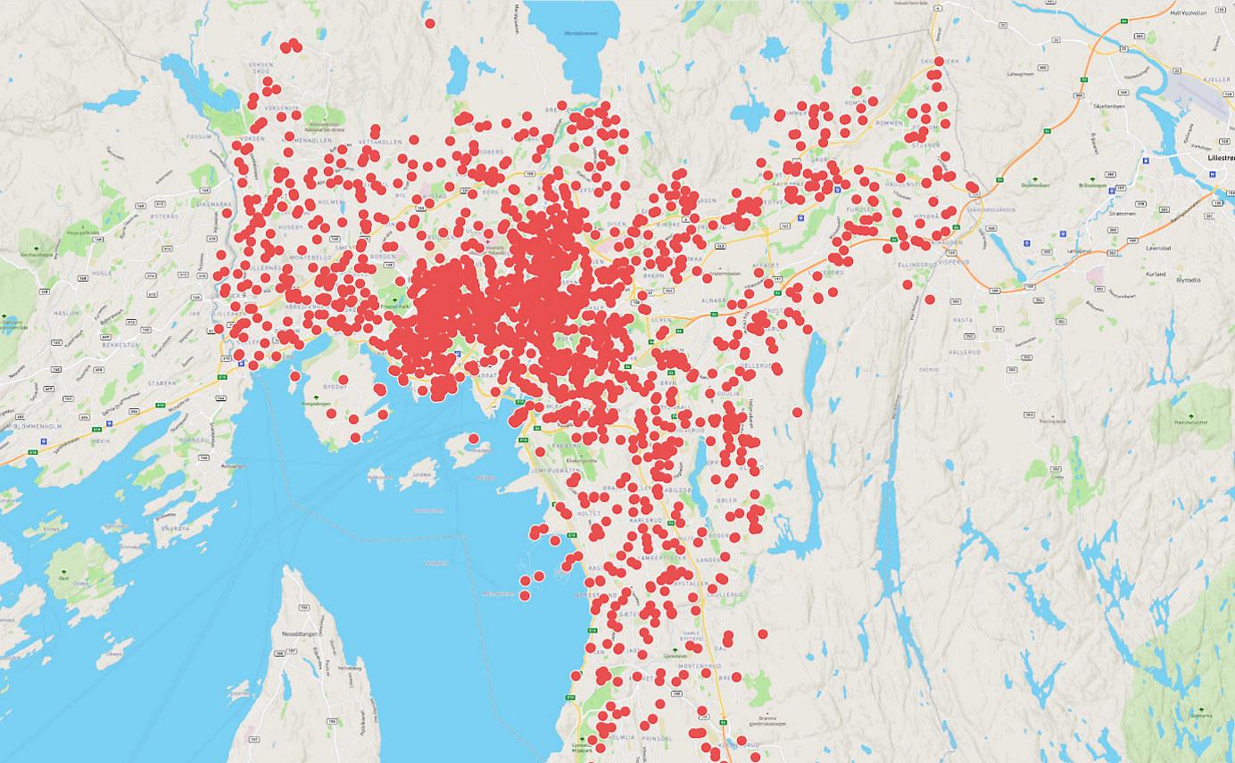 Kart som illustrerer biler tilknyttet Nabobil.