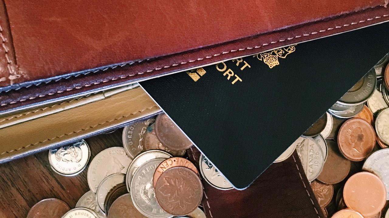 Lommebok, mynter og pass