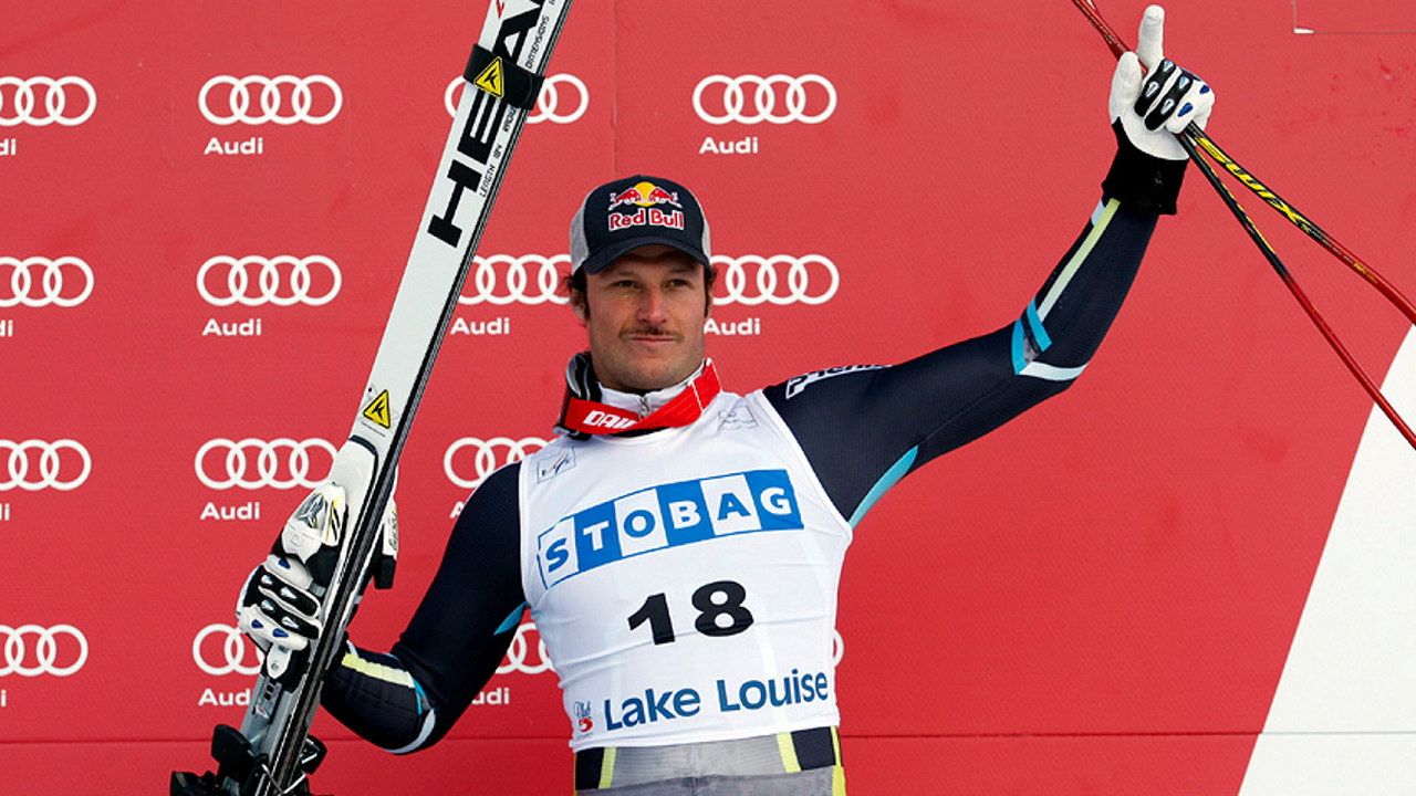 LAKE LOUISE, CANADA - NOVEMBER 27: Aksel Lund Svindal of Norway takes 3rd place during the Audi FIS Alpine Ski World Cup Men's Downhill on November 27, 2010 in Lake Louise, Canada.