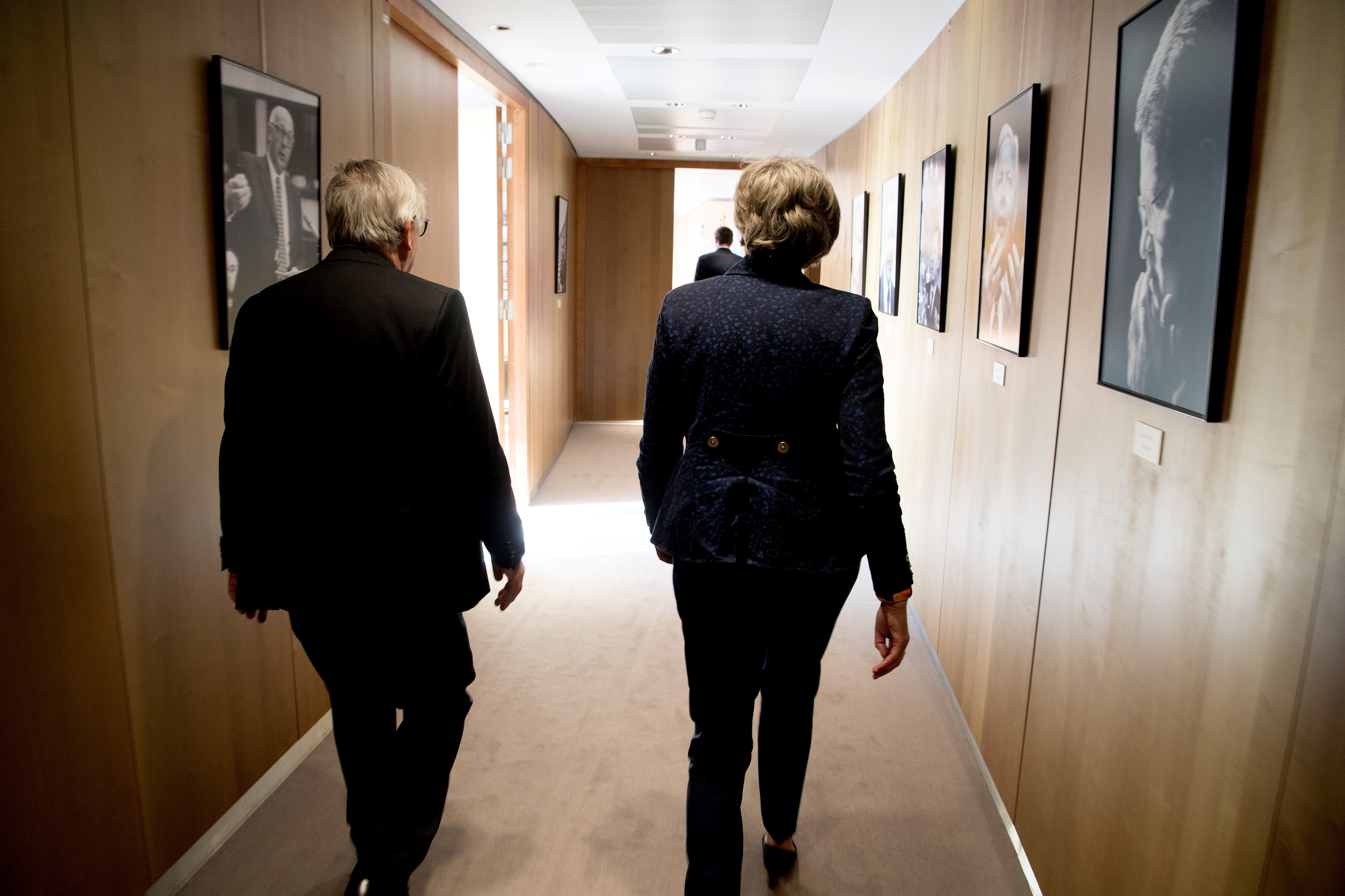 Theresa May, on the right, and Jean-Claude Juncker
