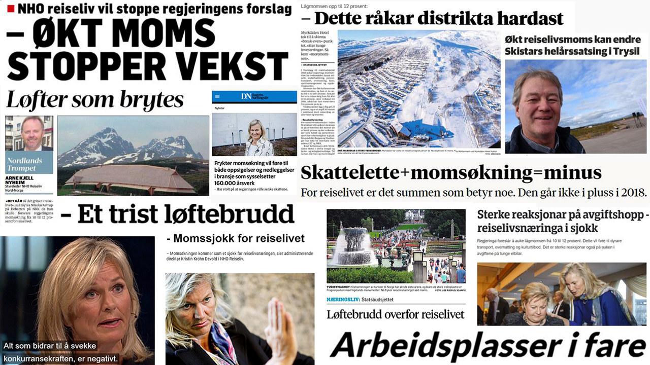 Kollasjbilde med ulike medieoppslag om reiselivsmomsen.