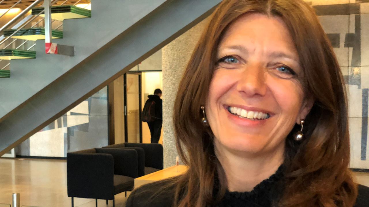 Anne-Cecilie Kaltenborn, administrerende direktør for NHO Service og Handel, under lanseringen av Helsenæringens verdi (2019).