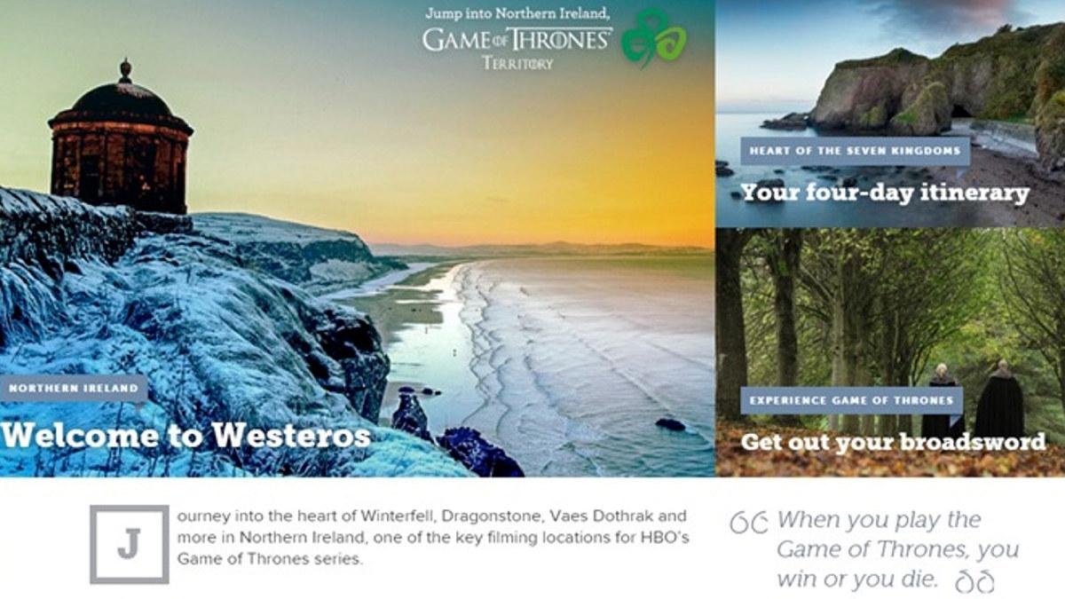 Tourism Ireland gjorde stor suksess av å markedsføre de nord-irske lokasjonene som ble brukt i Game of Thrones i en omfattende kampanje i sosiale og tradisjonelle medier. Skjermbilde fra Tourism Ireland.