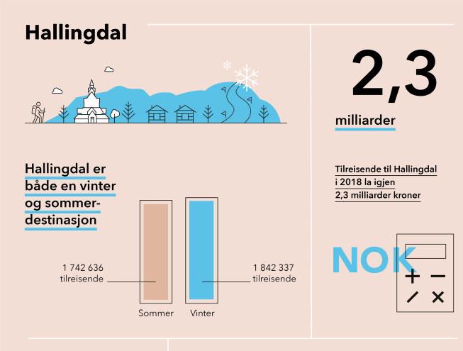 Grafisk fremstilling av utvalgte høydepunkter fra Menons destinasjonsanalyse av reiselivets verdi i Hallingdal 2018.