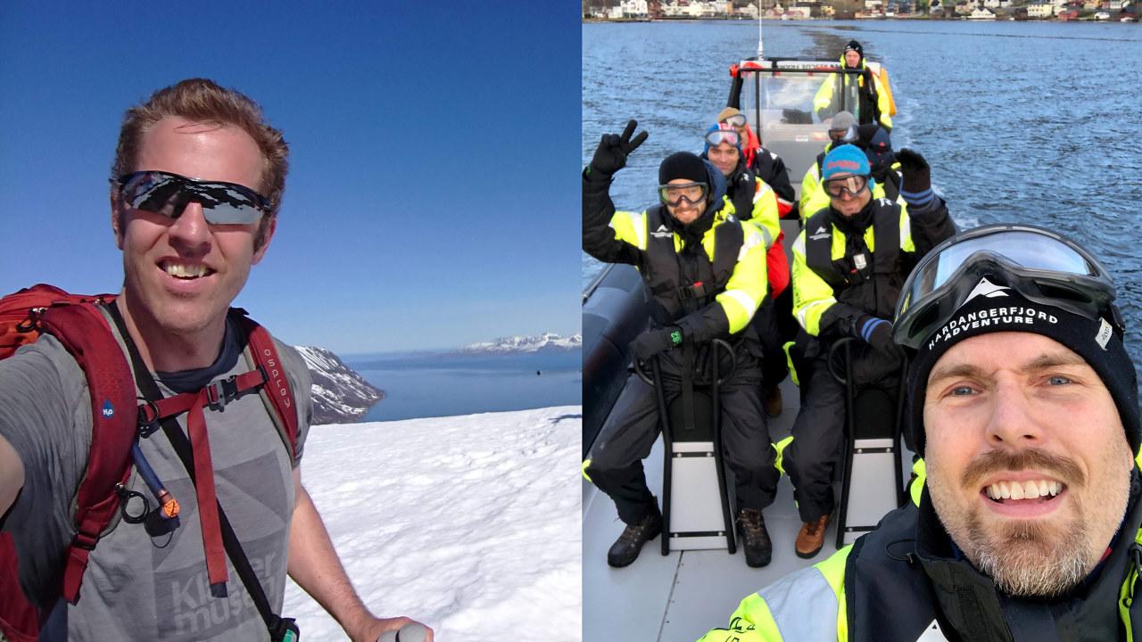 Georg Sichelschmidt fra Visit Lyngenfjord til venstre og Thor-Arvid Pedersen fra Hardangerfjord Adventure til høyre.