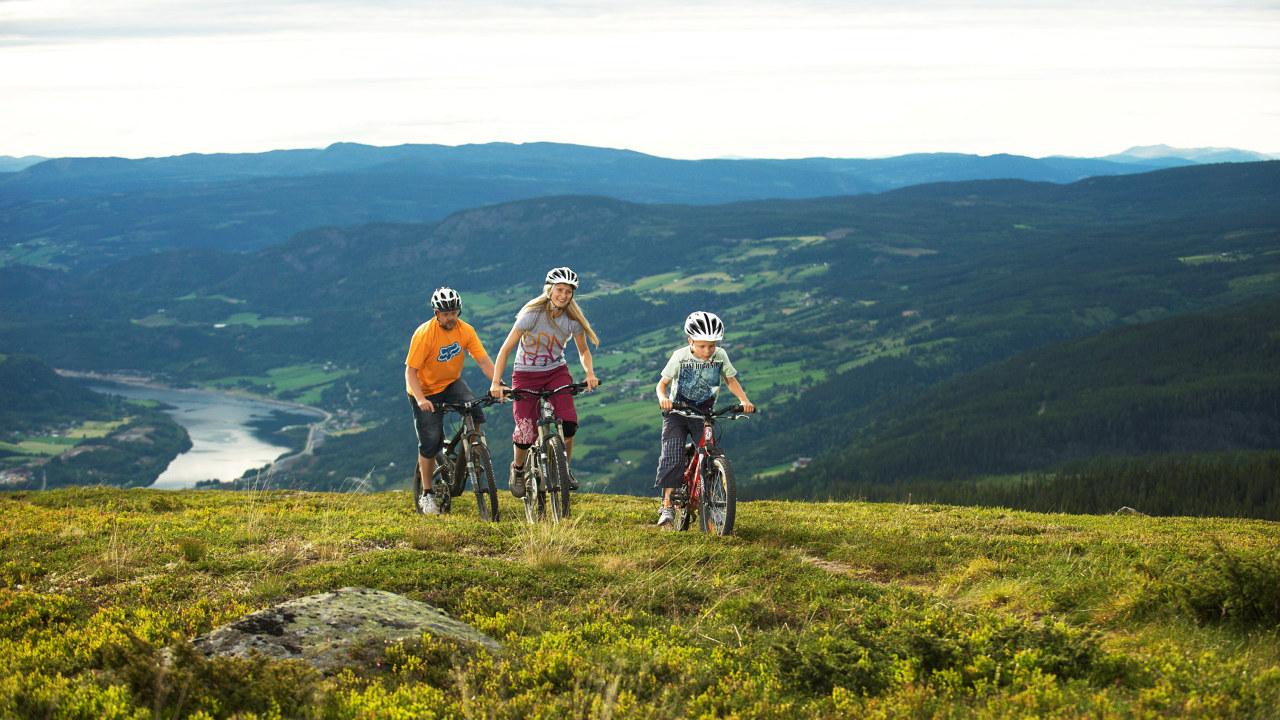 Mann, gutt og jente sykler på toppen av et lite fjell