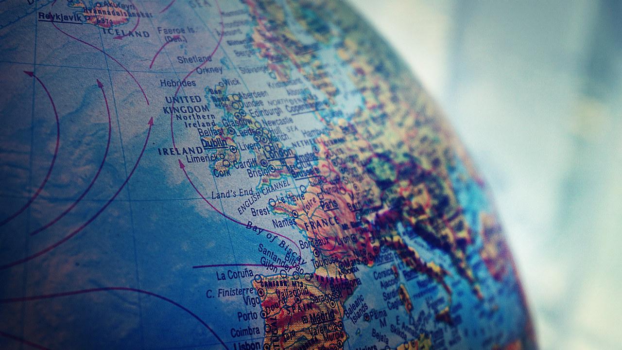 Nærbilde av globus