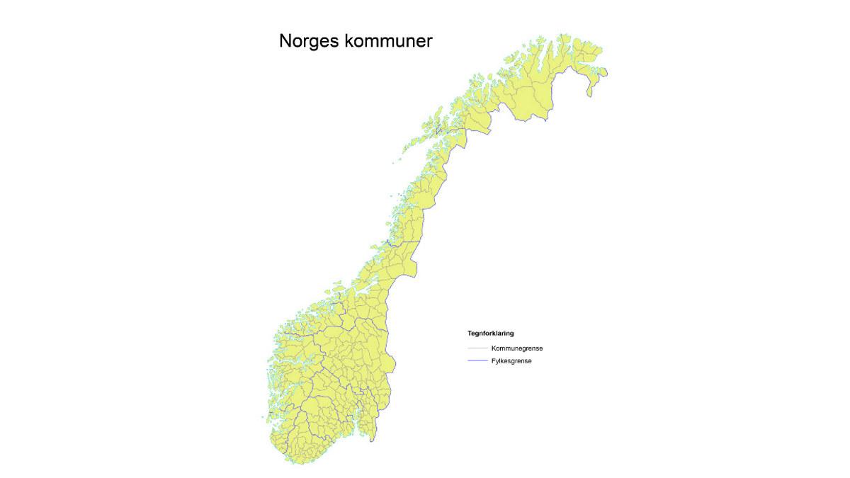 Kart over Norge med kommunegrenser. Illustrasjon; Norgeskart.no