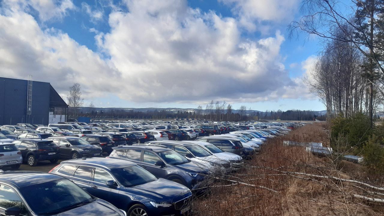 Bilde av ubrukte leiebiler på parkeringsplassene ved Oslo lufthavn Gardermoen under korona.-utbruddet i mars 2020.