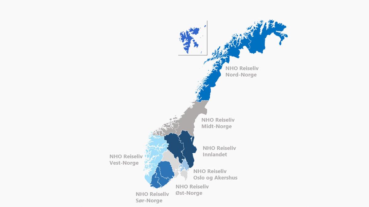 Oversikt over NHO Reiselivs regionkontorer