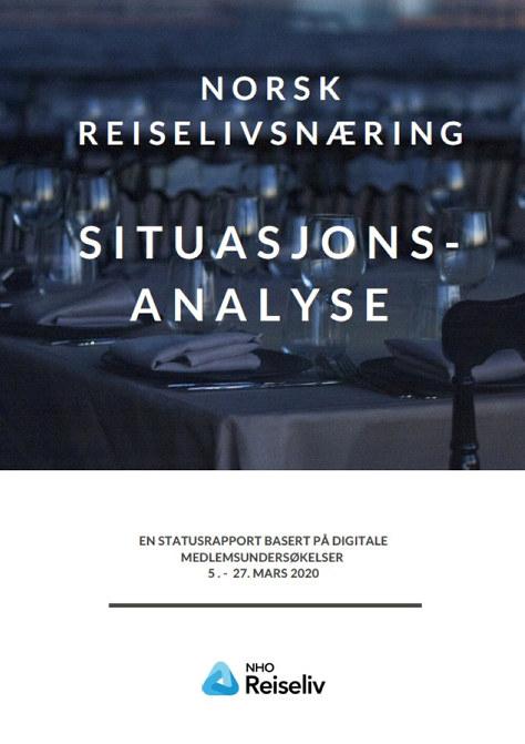 bilde av forsiden på rapporten Situasjonsanalyse av norsk reiselivsbransje i koronatider
