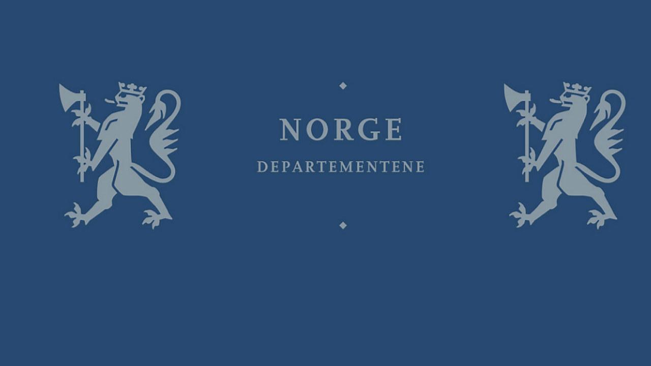 """den norske riksløven på blå bakgrunn med teksten """"Departementene""""."""