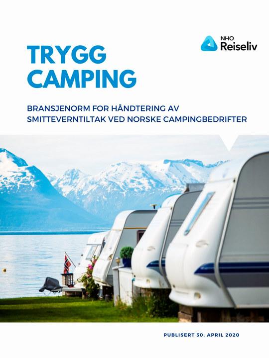 Bilde av forsiden på dokumentet Bransjenorm for håndtering av smitteverntiltak ved norske campingplasser