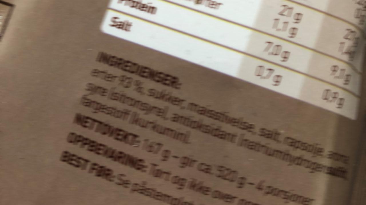 Nærbilde av varedeklarasjon på en suppepose