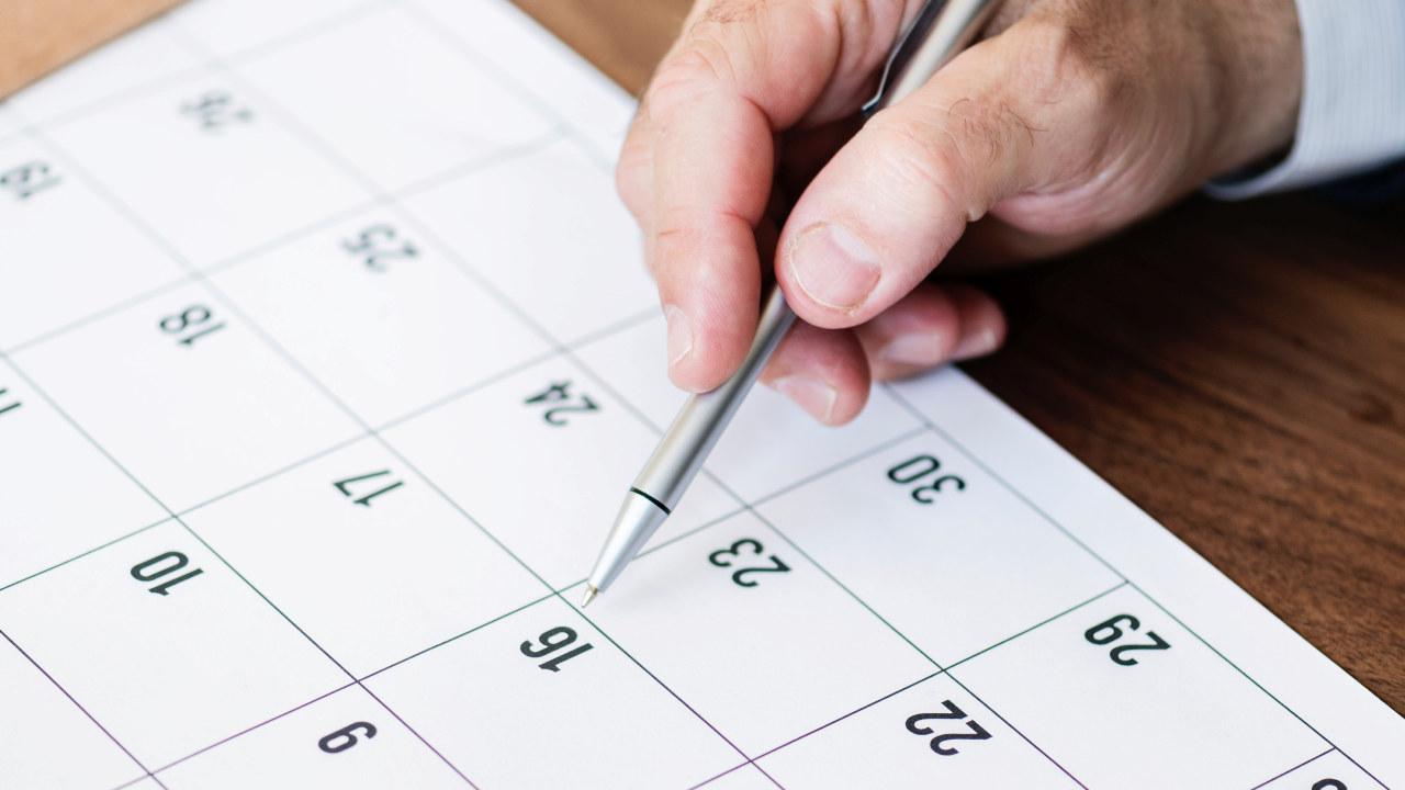 Nærbilde av en kalender
