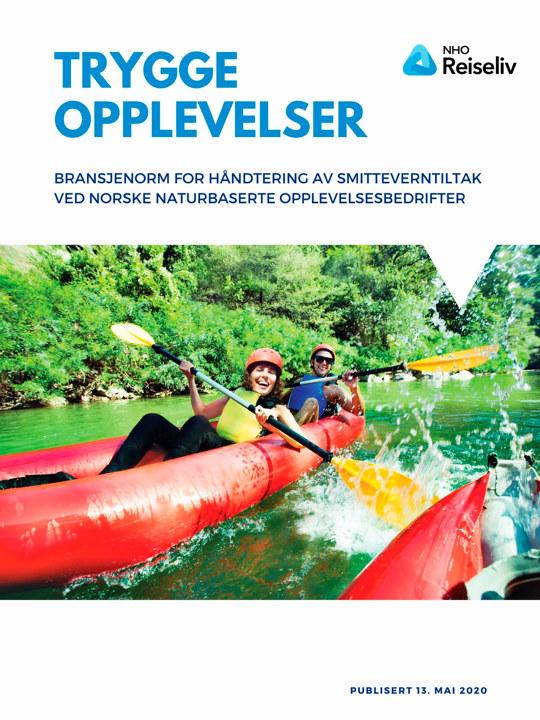 Bilde av forsiden på dokumentet Bransjenorm for håndtering av smitteverntiltak ved norske naturbaserte opplevelsesbedrifter