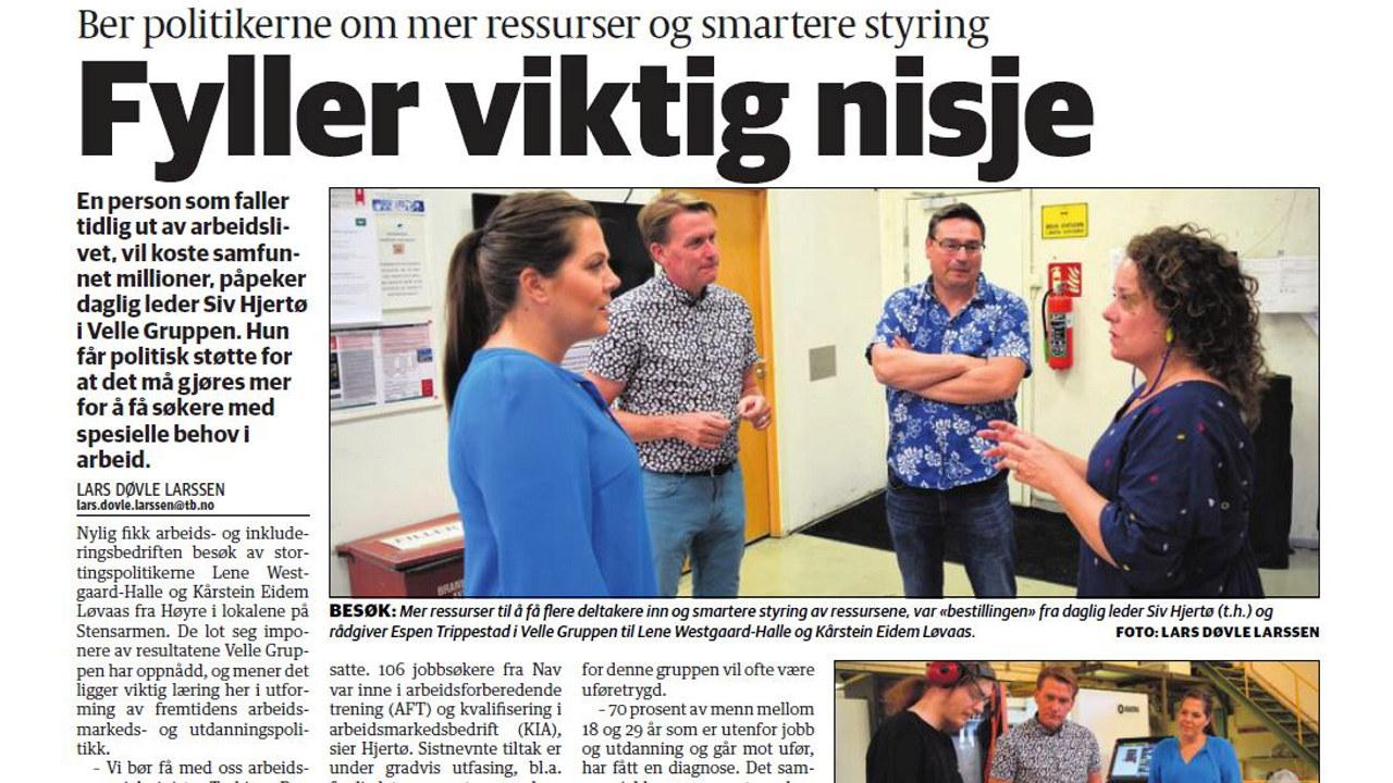 Tønsberg blad om Velle