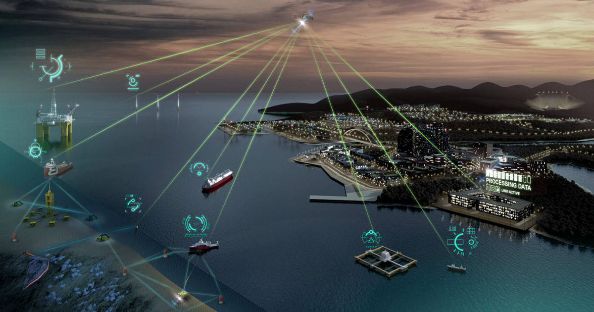 Illustrasjon av satelitt som har kontakt med ulike innstallasjoner på sjøen