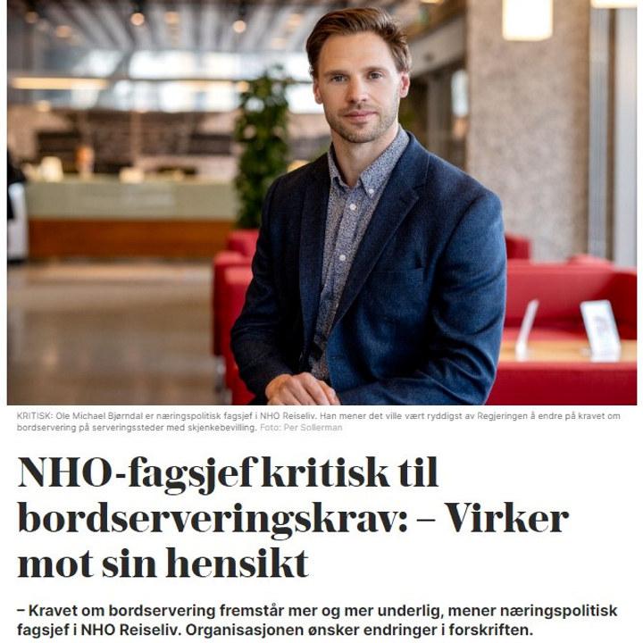 Ole Michael Bjørndal uttalte seg i VG om at bordserveringskravene virket mot sin hensikt. Nå er forskriften endret, og buffetservering tilbake. Faksimile fra VG.no